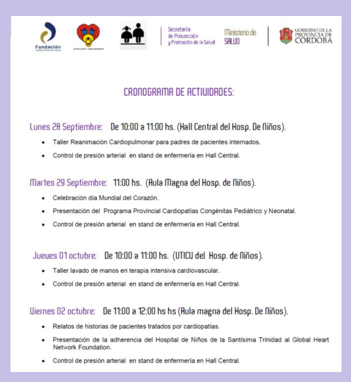 Schedule of Activities Heart Week, Córdoba